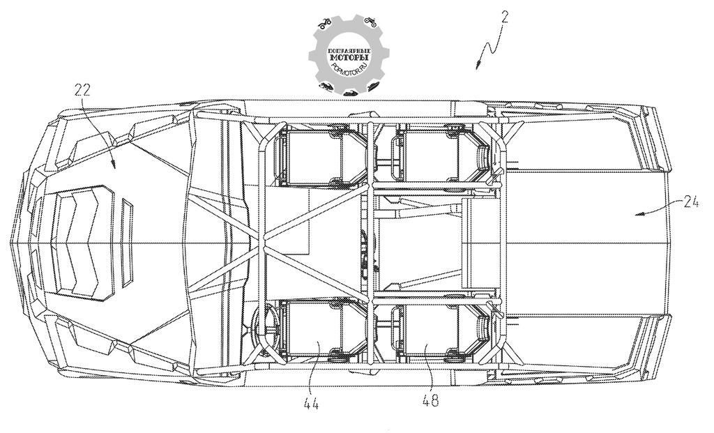 Вид сверху демонстрирует, как грузовая платформа переходит в кабину и пространство между сиденьями.