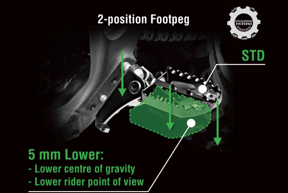 Регулируемые крепления подножек на KX450F и KX250F позволят водителю выставлять стандартную высоту подножек или на 5 миллиметров ниже. Это удобная функция, делающая мотоцикл ещё более удобным и настраиваемым.