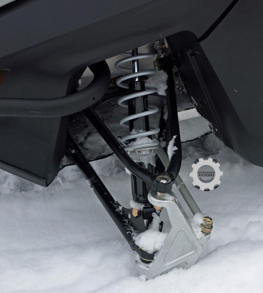 Ski-Doo используют переднюю подвеску на сдвоенных A-образных рычагах с подпружиненными амортизаторами Motion Control, которые контролируют 211 миллиметров хода.