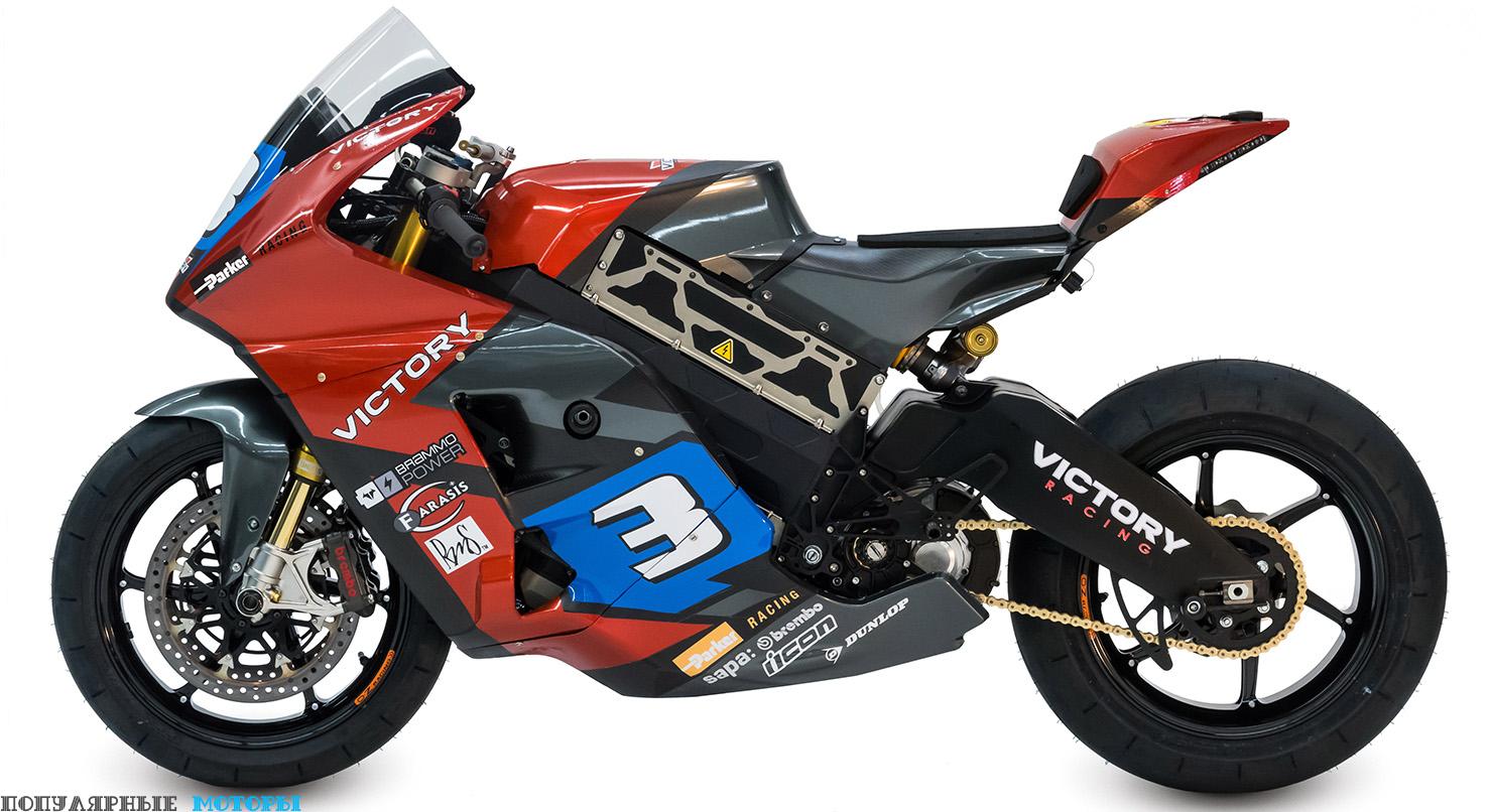 Фото прототипа электрического мотоцикла Victory — в профиль