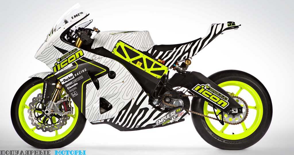 Внешне прототип Victory очень похож на Brammo Empulse RR (на фото), участвовавший в гонках в 2014 году, но мотоцикл несёт в себе много модификаций, которые не видны невооружённому глазу.