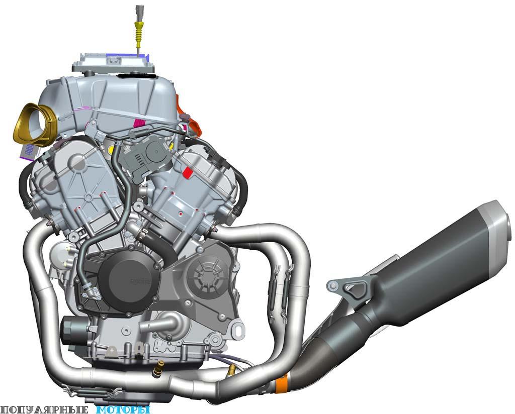Фото Aprilia RSV4 2016 - двигатель и выхлоп