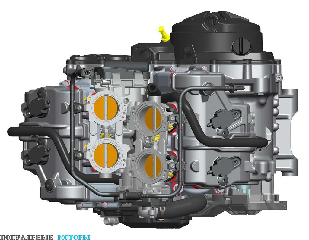 Четырёхцилиндровый двигатель Aprilia — настоящий шедевр конструкторского мастерства. Обратите внимание, как два блока корпусов дроссельной заслонки смешены для максимальной компактности 65-градусной V-образной конструкции. Кроме того, мотор издаёт невероятно приятный уху звук выхлопа.