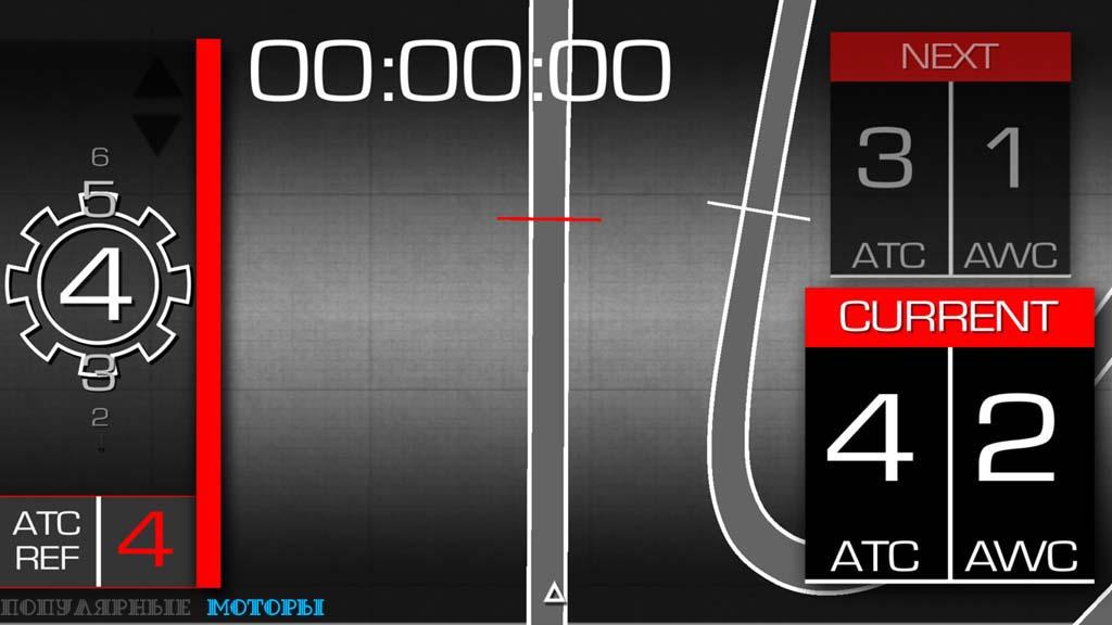 Вот один из множества экранов, которые могут демонстрироваться на вашем смартфоне с приложением V4-MP. Слева находится индикатор передачи, а также виден таймер прохождения круга —ничего особенного, казалось бы. Однако слева находятся удивительные вещи: можно увидеть, что система контроля тяги Aprilia Traction Control сейчас на четвёртой позиции, а система Aprilia Wheelie Control — на второй позиции из трёх. Дальше ещё круче: телефон может использовать GPS, чтобы определять, где именно вы движетесь по треку, и приложение может менять настройки TC и WC мотоцикла в зависимости от положения на треке!