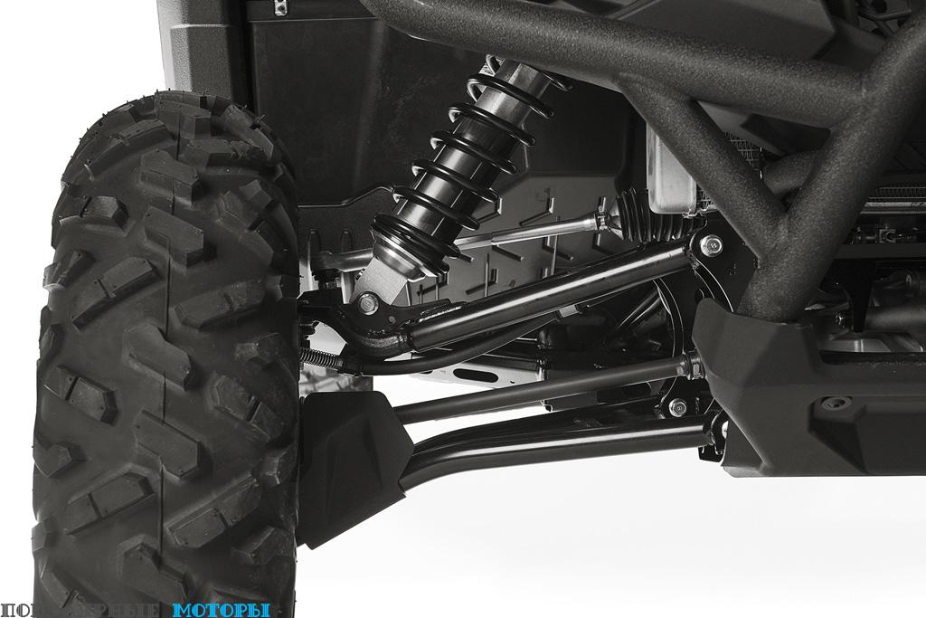 Yamaha Wolverine R-Spec оснащён полностью регулируемыми комбинированными амортизаторами KYB.