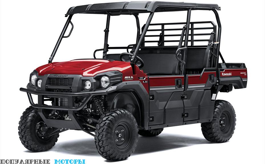 В комплектацию топовой модели Mule Pro-DXT EPS LE входит электроусилитель руля, светодиодные фары и композитная крыша.