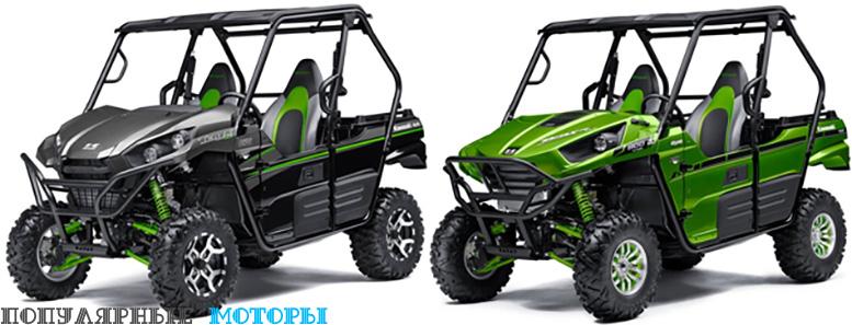 Обновлённая модель Kawasaki Teryx LE 2016 (слева) выглядит более грозно на фоне версии 2015 года (справа).